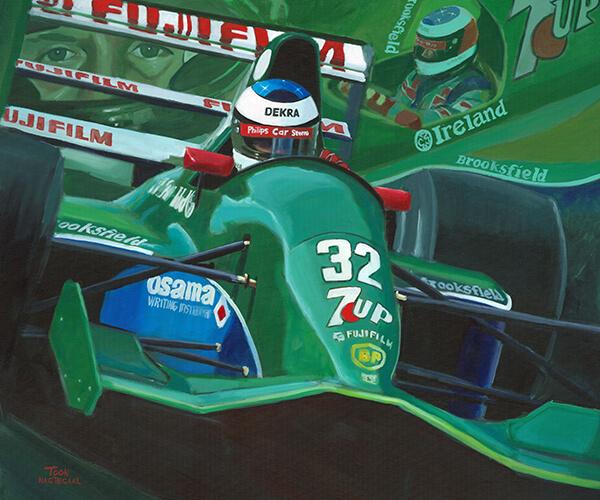 Debuut Schumacher 1991 Jordan 191 schilderij door Toon Nagtegaal