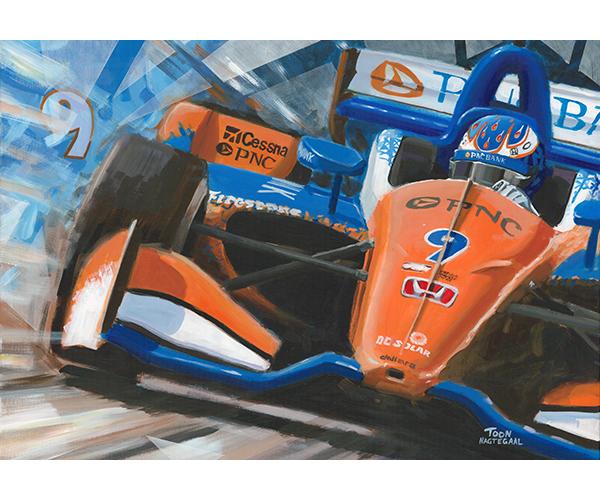 Scott Dixon Chip Ganassi Honda 2018 schilderij door Toon Nagtegaal. Acrylverf op doek, 100 x 70 cm.