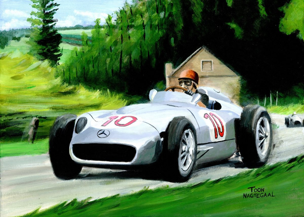 Fangio in de Mercedes Benz W196, Spa Francorchamps in 1955, acryl op canvas 50x70 cm