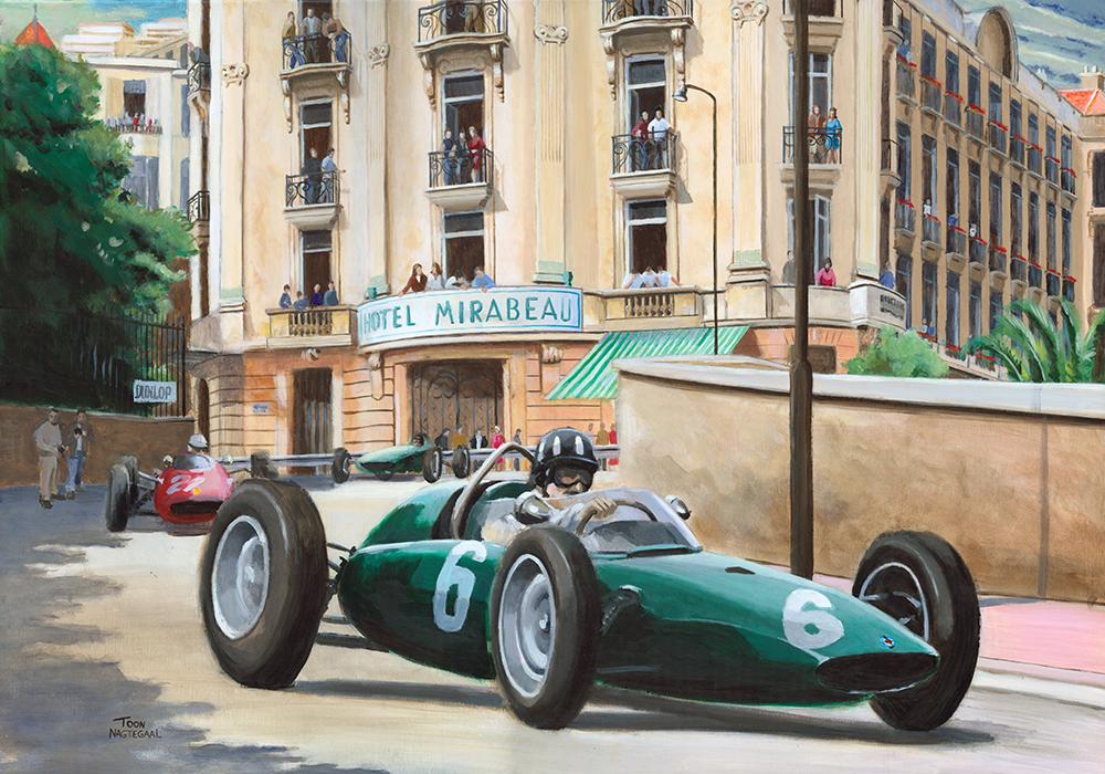 Graham Hill wint de GP van Monaco 1963. Acrylverf op canvas, 100x70cm